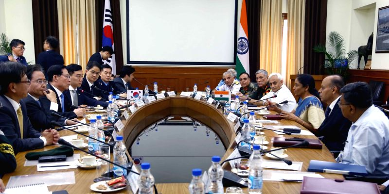 Union Defence Minister Nirmala Sitharaman and South Korean Defence Minister Song Young-moo holds a delegation level talks, in New Delhi, on Aug 10, 2018. - Nirmala Sitharaman