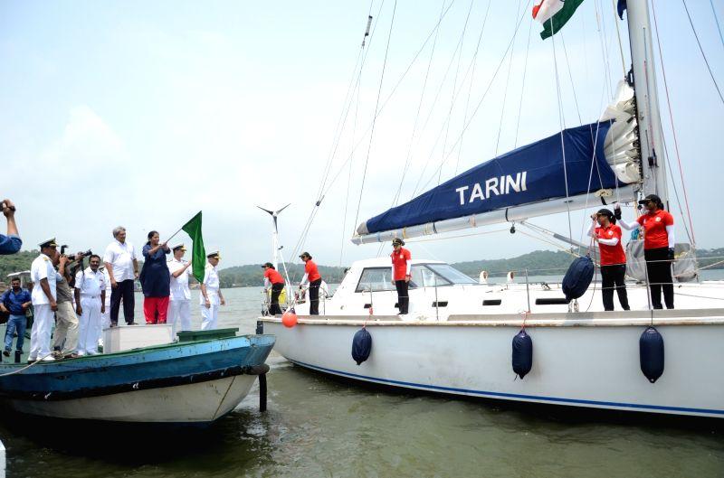 Union Defence Minister Nirmala Sitharaman flags off the 'Navika Sagar Parikrama' - the global circumnavigation by an all-women Indian Navy crew at the INS Mandovi naval training base near ... - Nirmala Sitharaman