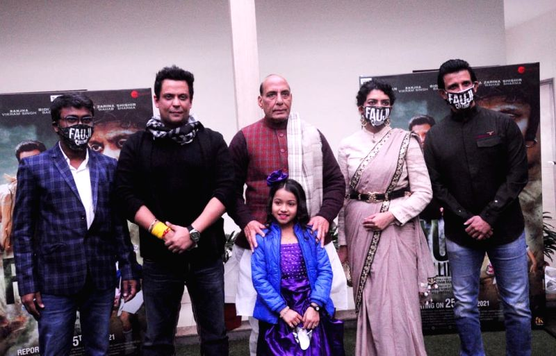 Union Defense minister Rajnath Singh unveiled a trailer of film ' Fauji' in new Delhi on Monday..