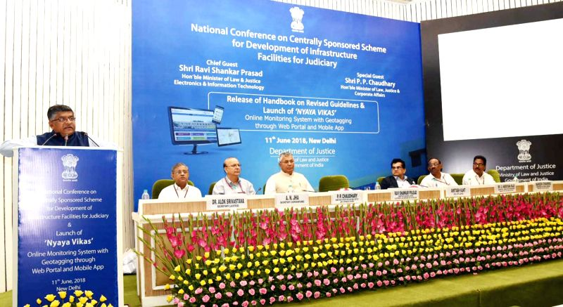 Union Electronics and Information Technology and Law and Justice Minister Ravi Shankar Prasad addresses at the launch of mobile app 'Nyaya Vikas' - the online monitoring system, in New ... - Ravi Shankar Prasad
