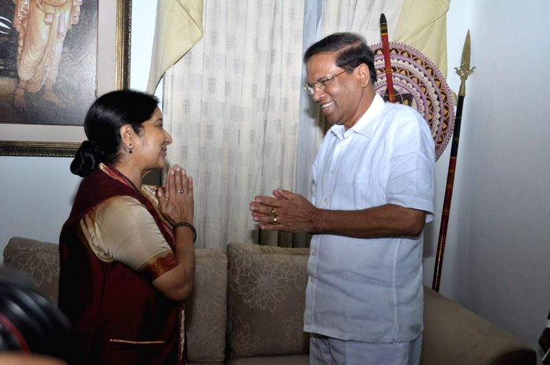 Union External Affairs Minister Sushma Swaraj calls on Sri Lankan President Maithripala Sirisena in Colombo, Sri Lanka on March 6, 2015.