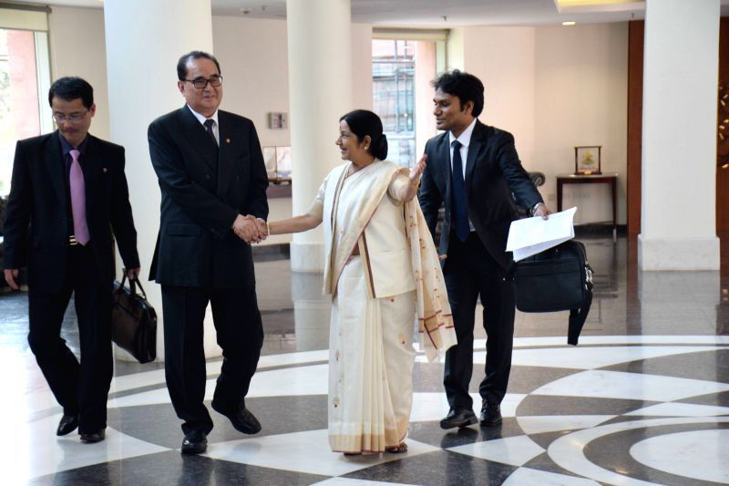 Union External Affairs Minister Sushma Swaraj during a meeting with her North Korean counterpart Ri Su Yong in New Delhi, on April 13, 2015. - Sushma Swaraj