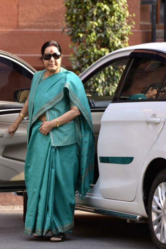 Union External Affairs Minister Sushma Swaraj arrives to attend Cabinet Meeting at South Block in New Delhi on May 24, 2017. - Sushma Swaraj