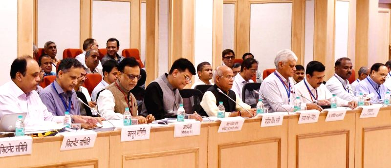 Union Finance and Corporate Affairs Minister Piyush Goyal chairs the 28th GST Council meeting along with Union MoS Finance Shiv Pratap Shukla and Finance Secretary Hasmukh Adhia, in New ... - Piyush Goyal
