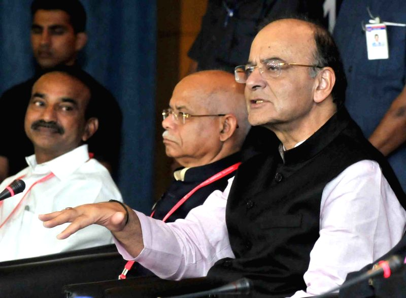 Union Finance Minister Arun Jaitley addresses during GST Conclave in Hyderabad on Sept 10, 2017. - Arun Jaitley