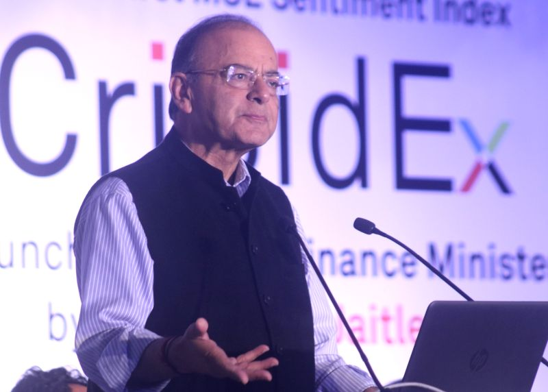 Union Finance Minister Arun Jaitley addresses during the launch of India's first sentiment index - CriSidEx, in New Delhi on Feb 3, 2018. - Arun Jaitley