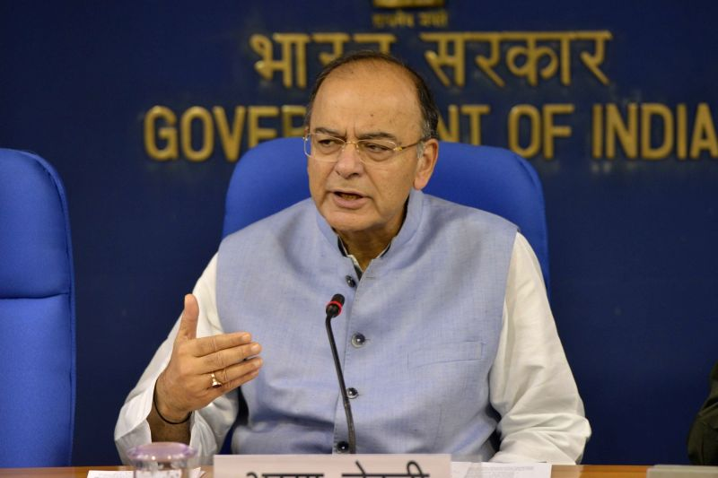 Union Finance Minister Arun Jaitley addresses a press conference in New Delhi on April 19, 2017. - Arun Jaitley