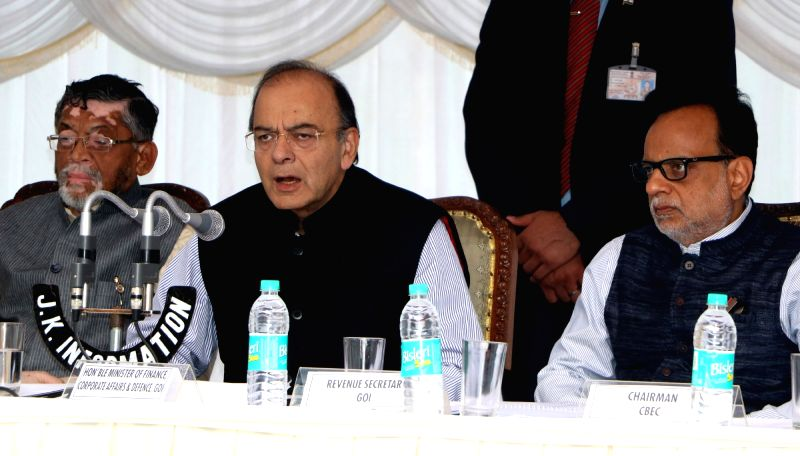 Union Finance Minister Arun Jaitley addresses a press conference during the second day of the GST Council meet at the Nehru Guest House Cheshmashahi (SKICC) in Srinagar on May 19, 2017. - Arun Jaitley