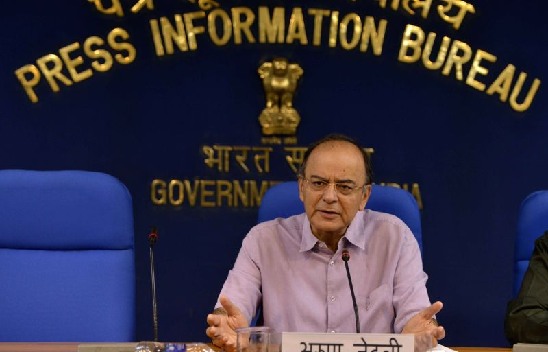 Union Finance Minister Arun Jaitley addresses a press conference in New Delhi on May 24, 2017. - Arun Jaitley