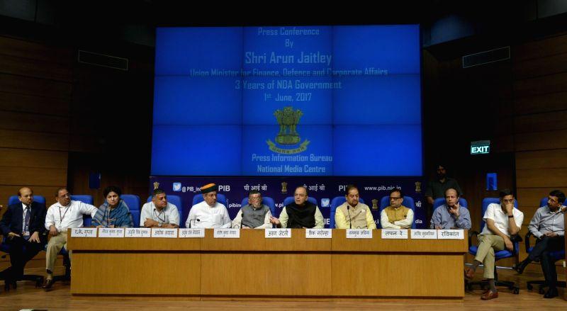 Union Finance Minister Arun Jaitley addresses a press conference in New Delhi on June 1, 2017. - Arun Jaitley