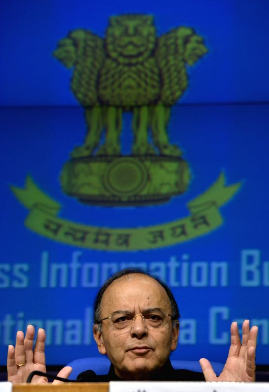 Union Finance Minister Arun Jaitley addresses a press conference in New Delhi on June 1, 2017. - Arun Jaitley