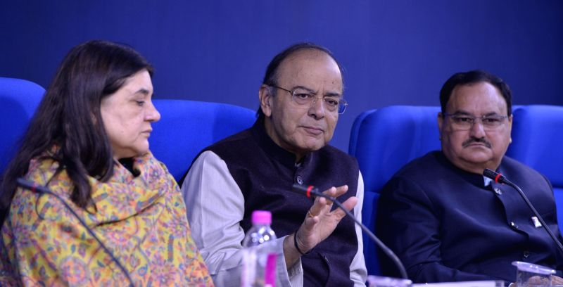 Jaitley's  press conference - Arun Jaitley and Development Maneka Gandhi
