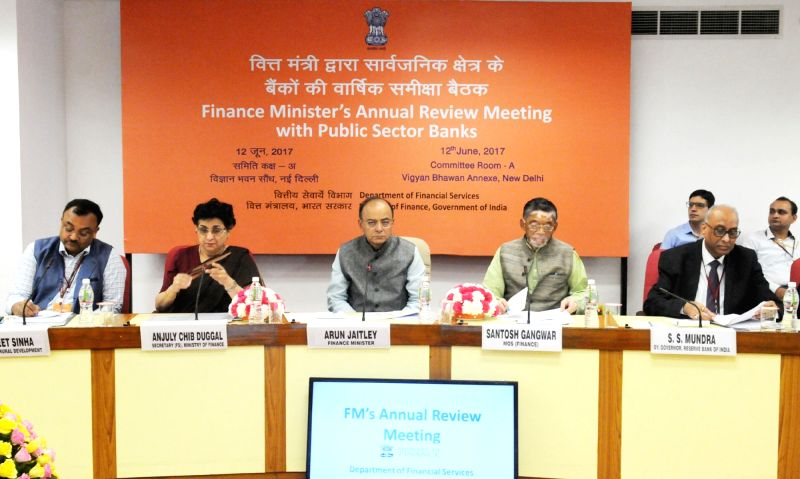 Union  Finance Minister Arun Jaitley chairs the meeting of CMDs/CEOs of Public Sector Banks in order to review their performance, in New Delhi on June 12, 2017. - Arun Jaitley