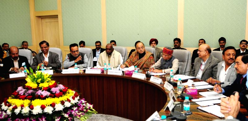 Union Finance Minister Arun Jaitley chairs the 7th Pre-Budget Consultations Meeting with the stakeholders from the Banks and Financial Institutions in connection with the forthcoming Union ... - Arun Jaitley, P. Radhakrishnan, Pratap Shukla and Finance Secretary Hasmukh Adhia