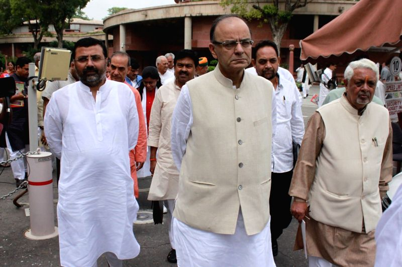 Union Finance Minister Arun Jaitley comes out after BJP parliamentary party meeting in New Delhi, on Aug 9, 2016. - Arun Jaitley