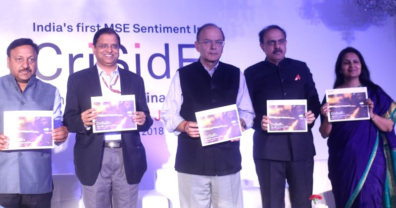 Union Finance Minister Arun Jaitley during the launch of India's first sentiment index - CriSidEx, in New Delhi on Feb 3, 2018. - Arun Jaitley