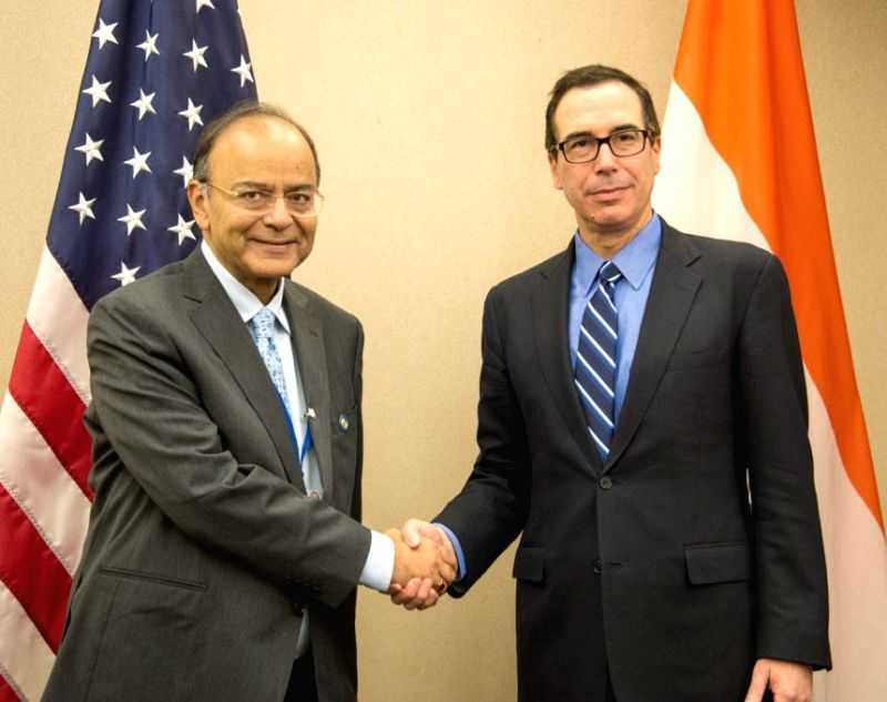 Union Finance Minister Arun Jaitley in a bilateral meeting with the US Treasury Secretary Steven Mnuchin, in Washington D.C. on April 22, 2017. - Arun Jaitley