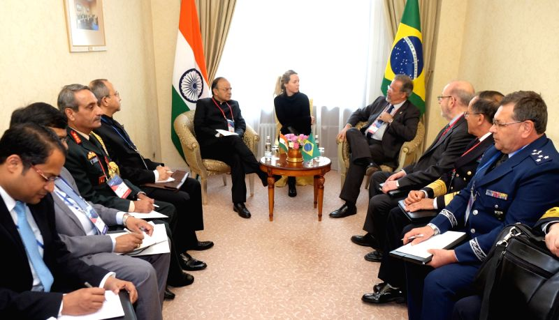 Union Finance Minister Arun Jaitley meets the Brazilian Defence Minister Paul Belens Jungman Pinto, on the sidelines of the 6th Moscow Conference on International Security, in Moscow, Russia ... - Arun Jaitley