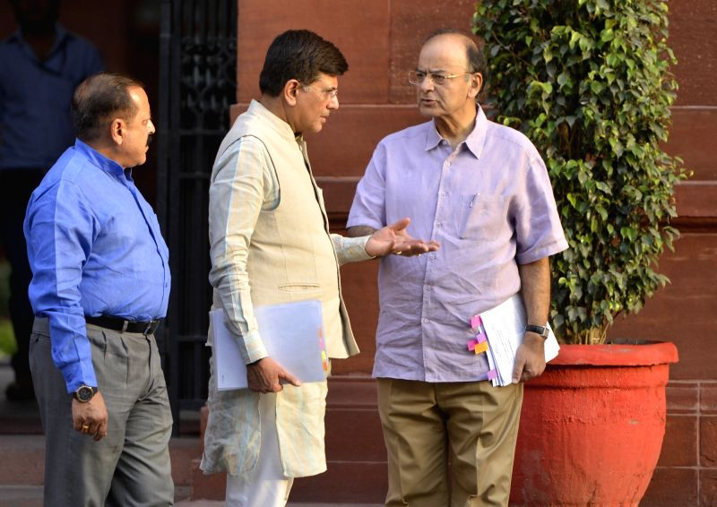 Union Finance Minister Arun Jaitley, Power Minister Piyush Goyal, MoS PMO Jitendra Singh after Cabinet Meeting at South Block in New Delhi on May 24, 2017. - Arun Jaitley and Jitendra Singh