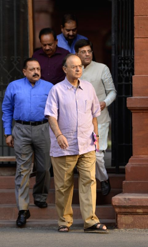 Union Finance Minister Arun Jaitley, Power Minister Piyush Goyal, MoS PMO Jitendra Singh come out after Cabinet Meeting at South Block in New Delhi on May 24, 2017. - Arun Jaitley and Jitendra Singh