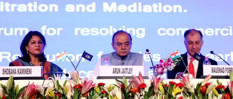 Union Finance Minister Arun Jaitley with CII president Naushad Forbes and CII President Designate Shobana Kamineni at CII Annual Session in New Delhi on April 28, 2017. - Arun Jaitley