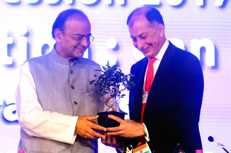Union Finance Minister Arun Jaitley with CII president Naushad Forbes at CII Annual Session in New Delhi on April 28, 2017. - Arun Jaitley