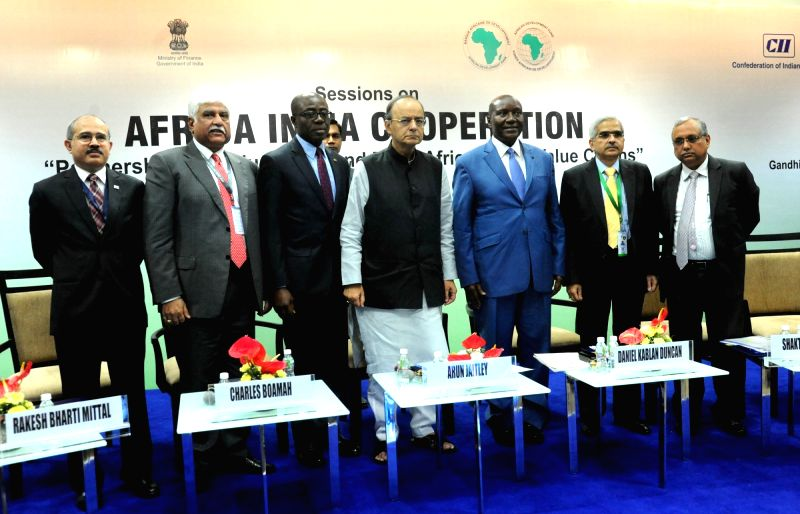 Union Finance Minister Arun Jaitley with other dignitaries during the 52nd Annual Meetings of the African Development Bank in Gandhinagar, on May 22, 2017. - Arun Jaitley