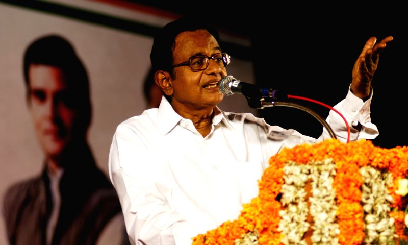 Union Finance Minister P Chidambaram addressing during an election campaign rally for Central and South Chennai Lok Sabha constituency Congress candidates CD Meiyappan and SV Ramani in Chennai on ...