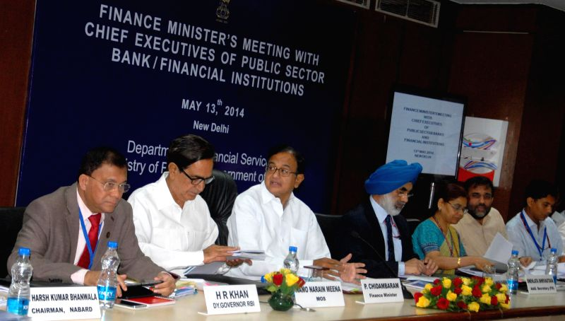 Union Finance Minister P. Chidambaram during the Annual Performance Review Meeting with Chief Executive Officers of Public Sector Banks and Financial Institutions in New Delhi on May 13, 2014.