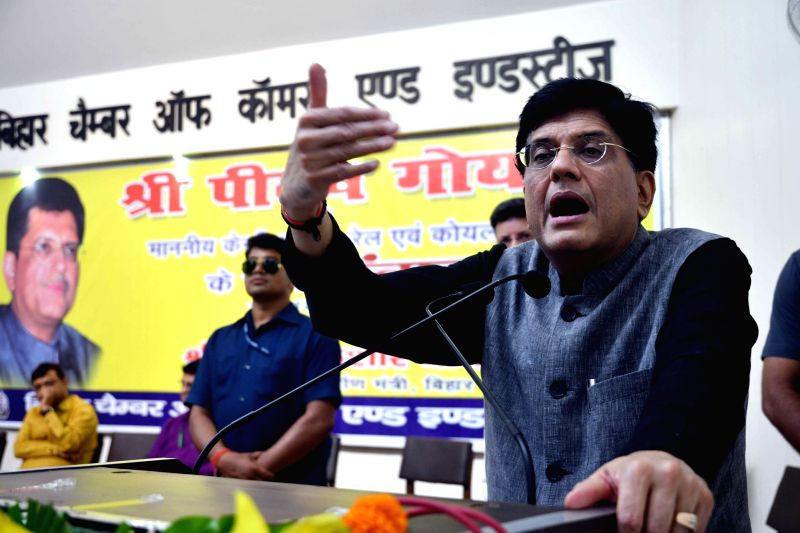 Union Finance Minister Piyush Goyal addresses during an interactive programme organised by Bihar Chamber of Commerce and Industries, in Patna on Aug 12, 2018. - Piyush Goyal