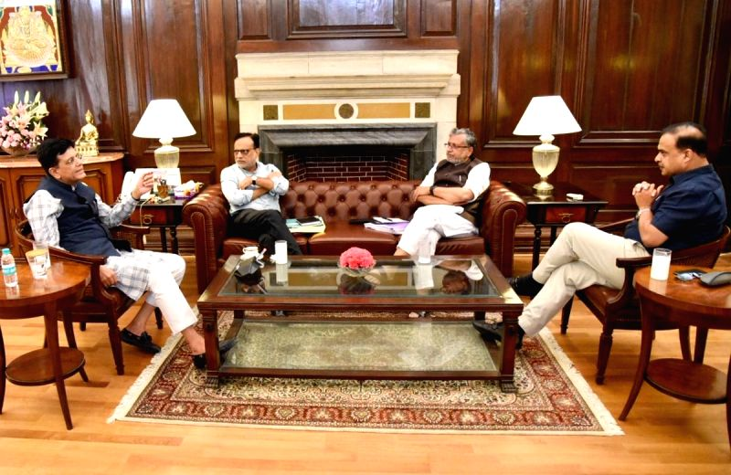Union Finance Minister Piyush Goyal chairs a GST Committee meeting with Bihar Deputy Chief Minister and GST Council member Sushil Kumar Modi, Finance Secretary Hasmukh Adhia and Assam ... - Piyush Goyal and Sushil Kumar Modi