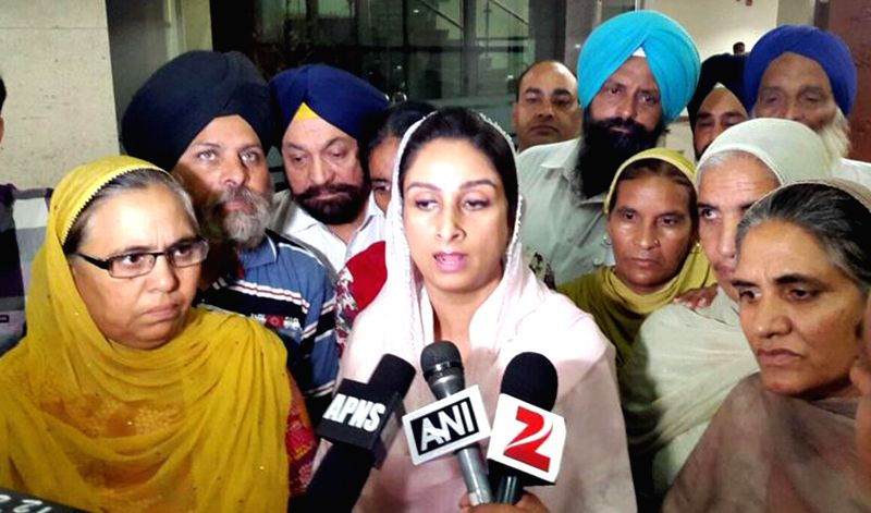 Union Food Processing Industries Minister Harsimrat Kaur Badal addresses press after meeting family members of Indians trapped in Iraq, in New Delhi on Aug 19, 2014.