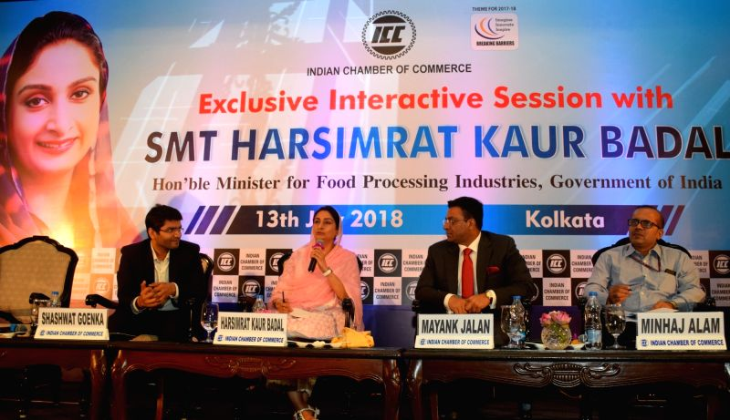 Union Food Processing Industries Minister Harsimrat Kaur Badal at an interactive session, organised by the Indian Chamber of Commerce (ICC), in Kolkata on July 13, 2018. - Harsimrat Kaur Badal
