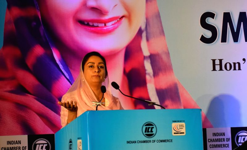 Union Food Processing Industries Minister Harsimrat Kaur Badal addresses at an interactive session, organised by the Indian Chamber of Commerce (ICC), in Kolkata on July 13, 2018. - Harsimrat Kaur Badal