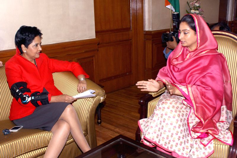 Union Food Processing Minister Harsimrat Kaur Badal during a meeting with PepsiCo India Chairman and CEO Indra Nooyi in New Delhi on Aug 26, 2014. - Harsimrat Kaur Badal