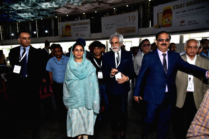 Union Food Processing Minister Harsimrat Kaur Badal, India Exposition Mart Limited Chairman Sunil Sethi and EPCH Chairman, IEML and Executive Director Rakesh Kumar after the inauguration ... - Harsimrat Kaur Badal and Rakesh Kumar