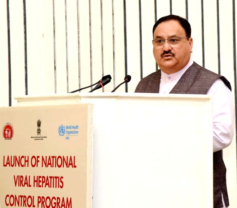 Union Health and Family Welfare Minister J.P. Nadda addresses at the launch of National Viral Hepatitis Control Program, on the occasion of 'World Hepatitis Day', in New Delhi on July 28, ... - J.