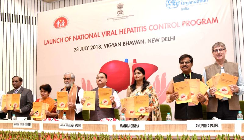 Union Health and Family Welfare Minister J.P. Nadda launches the National Viral Hepatitis Control Program along with Union Ministers Manoj Sinha, Ashwini Kumar Choubey and Anupriya Patel, ... - J., Ministers Manoj Sinha, Ashwini Kumar Choubey and Anupriya Patel