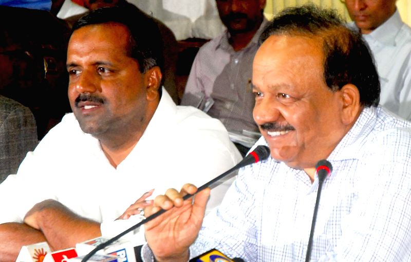 Union Health Minister Harsh Vardhan during a press conference at Vidhana Soudha in Bangalore on Aug 17, 2014.