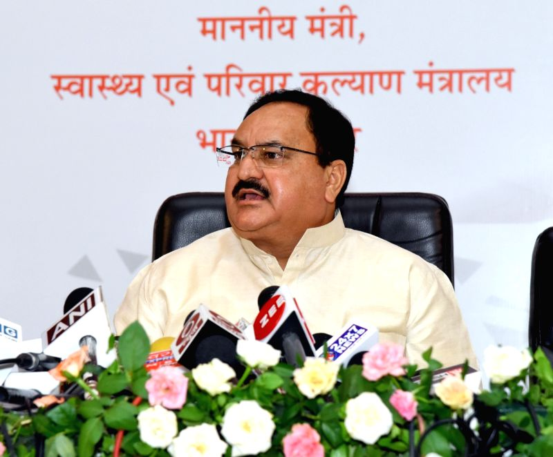 Union Health Minister J.P. Nadda addresses a press conference, in Raipur, Chhattisgarh on June 4, 2018. - J.