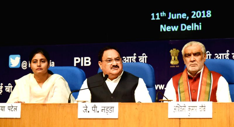 Union Health Minister J.P. Nadda addresses a press conference on the achievements of his ministry, during the last four years, in New Delhi on June 11, 2018. Also seen Union MoS Health ... - J., Ashwini Kumar Choubey and Anupriya Patel