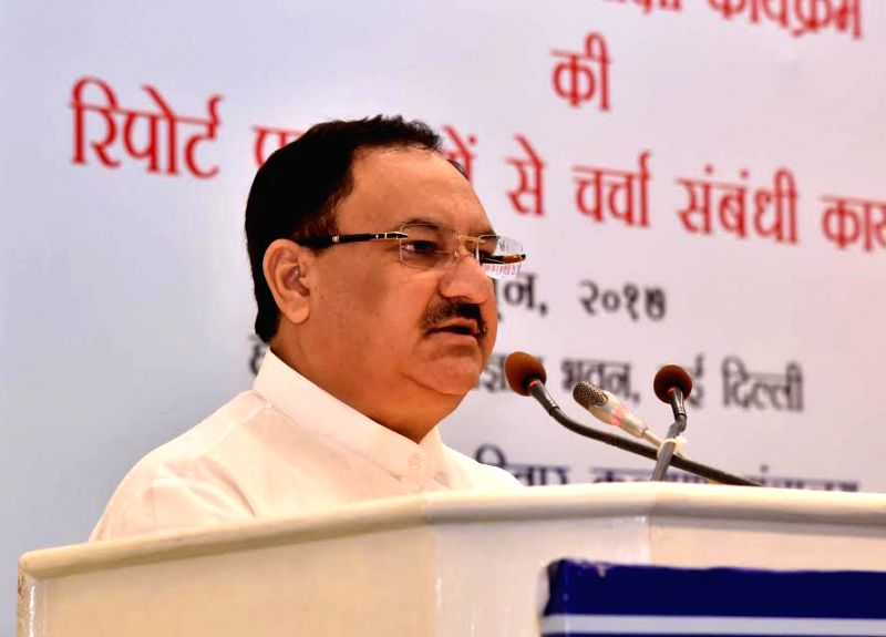 Union Health Minister J.P. Nadda addresses at the dissemination function of the 10th Common Review Mission (CRM) report of the National Health Mission, in New Delhi on June 2, 2017. - J.
