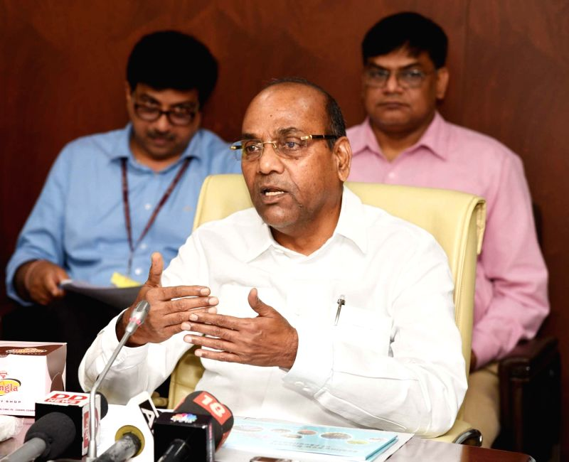 Union Heavy Industries and Public Enterprises Minister Anant Geete addresses a press conference on the achievements of the Ministry of Heavy Industries and Public Enterprises in the last ... - Anant Geete