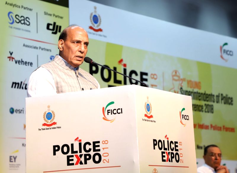 Union Home Minister Rajnath Singh addresses during the 2nd Conference of Young Superintendents of Police organised by the Bureau of Police Research and Development (BPR&D), in New ... - Rajnath Singh