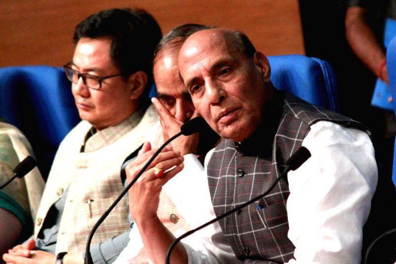 Union Home Minister Rajnath Singh addresses a press conference on regarding achievements and initiatives of his department in New Delhi on June 3, 2017. Also seen Union MoS Home Affairs ... - Rajnath Singh
