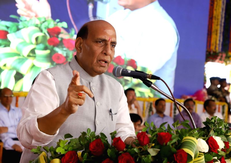 Union Home Minister Rajnath Singh addresses a gathering after launching various development projects, in Diu on April 21, 2018. - Rajnath Singh