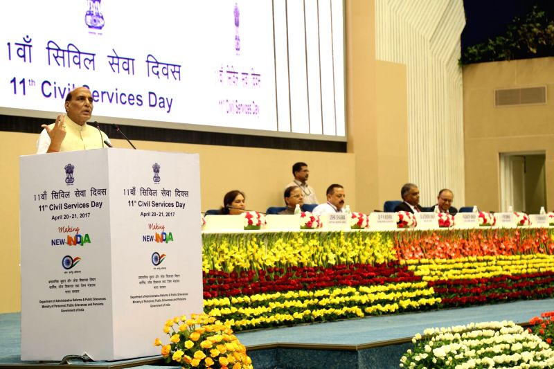 Union Home Minister Rajnath Singh addresses at the inauguration of the 11th Civil Services Day function, in New Delhi on April 20, 2017. - Rajnath Singh