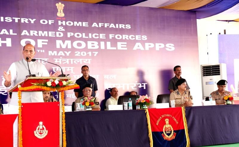 Union Home Minister Rajnath Singh addresses at launch MHA Mobile Application (Grievances Redressal App) and BSFMyApp in New Delhi on May 11, 2017. - Rajnath Singh