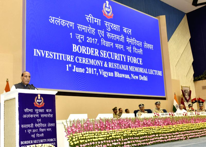 Union Home Minister Rajnath Singh addresses at Border Security Force (BSF) Investiture Ceremony, in New Delhi on June 01, 2017. - Rajnath Singh