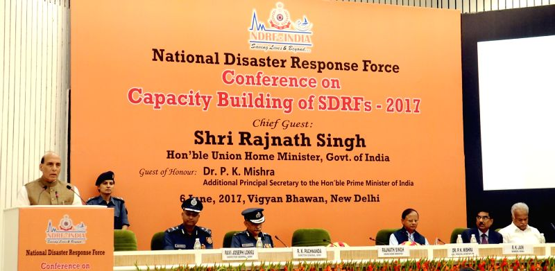 Union Home Minister Rajnath Singh addresses at the inauguration of a two-day long National Level Conference on Capacity Building of SDRF-2017 organised by NDRF in New Delhi on June 6, 2017. - Rajnath Singh
